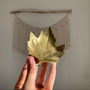 Vintage Brass Gold Maple Leaf Trinket Dish